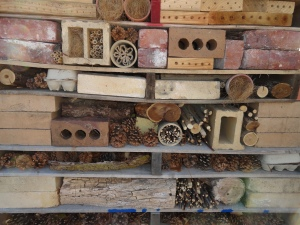 Close up view of insect hotel.