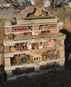 Insect hotel in November before snow.