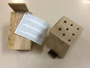 Solitary bee house for kids to take home and place in their landscape.