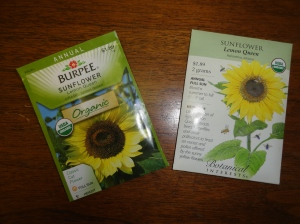 Use untreated sunflower seeds. The project recommends planting Lemon Queen.