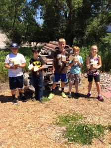 Youth with their new bee houses to take home.